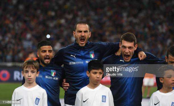 Lorenzo Insigne Leonardo Bonucci and Andrea Belotti during the national anthem prior during the UEFA Euro 2020 Qualifier between Greece and Italy on...