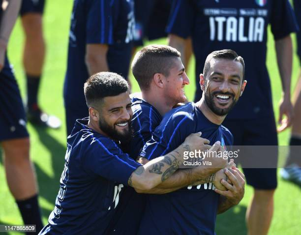 Lorenzo Insigne Marco Verratti and Fabio Quagliarella of Italy react during a Italy training session at Centro Tecnico Federale di Coverciano on June...