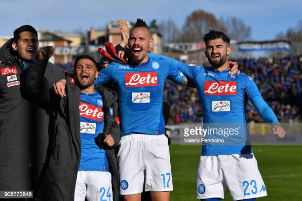 Lorenzo Insigne Marek Hamsik and Elseid Hysaj of SSC Napoli celebrate victory at the end of the serie A match between Atalanta BC and SSC Napoli at...