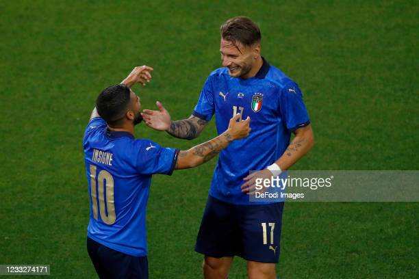 Lorenzo Insigne of Italy and Ciro Immobile of Italy celebrate after scoring his team's third goal during the international friendly match between...