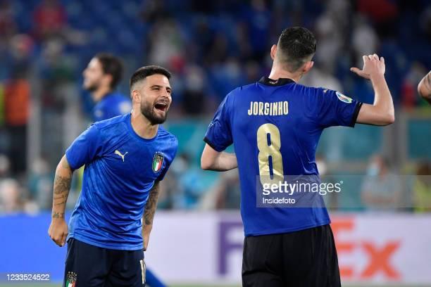 Lorenzo Insigne of Italy and Jorge Luiz Frello Filho Jorginho of Italy celebrate the victory of the Uefa Euro 2020 Group A football match between...