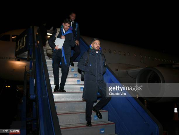 Lorenzo Insigne of Italy arrives in Sweden on November 9 2017 in Stockholm Sweden