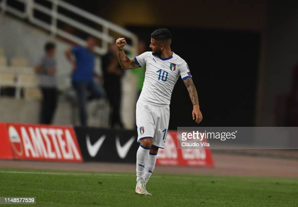 Lorenzo Insigne of Italy celebrate after scoring the goal during the UEFA Euro 2020 Qualifier between Greece and Italy on June 8 2019 in Athens Greece