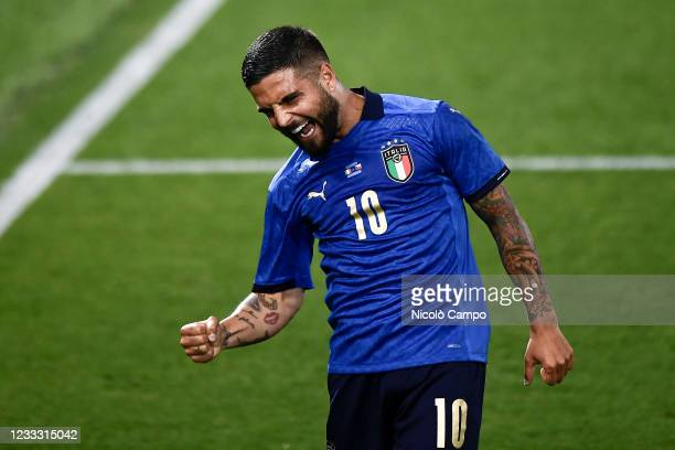 Lorenzo Insigne of Italy celebrates after scoring a goal during the international friendly match between Italy and Czech Republic. Italy won 4-0 over...