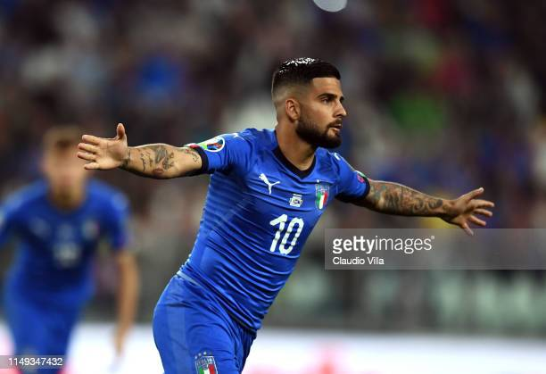 Lorenzo Insigne of Italy celebrates after scoring his team's first goal during the UEFA Euro 2020 Qualifier between Italy and Bosnia and Herzegovina...