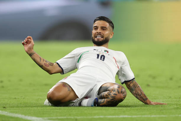 Lorenzo Insigne of Italy celebrates after scoring their side's second goal during the UEFA Euro 2020 Championship Quarter-final match between Belgium...