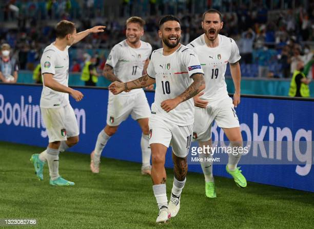 Lorenzo Insigne of Italy celebrates after scoring their side's third goal during the UEFA Euro 2020 Championship Group A match between Turkey and...