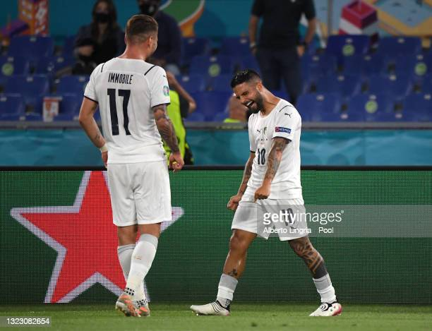 Lorenzo Insigne of Italy celebrates with Ciro Immobile after scoring their side's third goal during the UEFA Euro 2020 Championship Group A match...