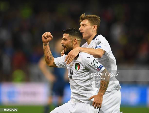 Lorenzo Insigne of Italy celebrates with Nicolo Barella after scoring the second goal during the UEFA Euro 2020 Qualifier between Bosnia and...
