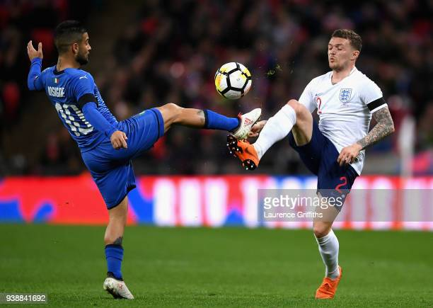 Lorenzo Insigne of Italy competes for the ball with Kieran Trippier of England during the International friendly between England and Italy at Wembley...