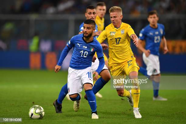 Lorenzo Insigne of Italy competes for the ball with Oleksandr Zincenko of Ukraine during the International Friendly match between Italy and Ukraine...