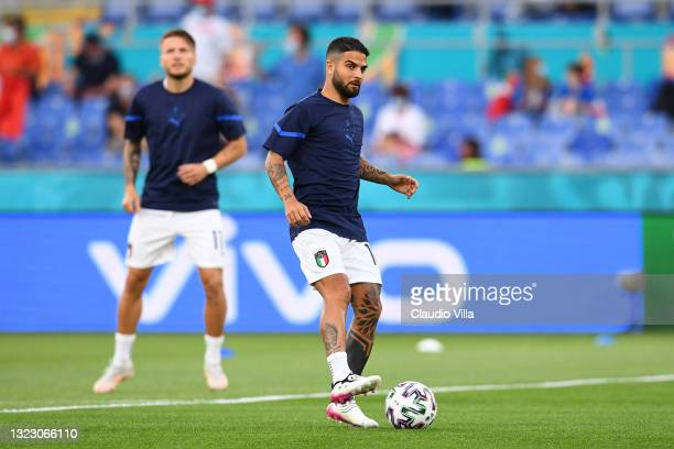 Lorenzo Insigne of Italy controls the ball as he warms up prior to the UEFA Euro 2020 Championship Group A match between Turkey and Italy at the...