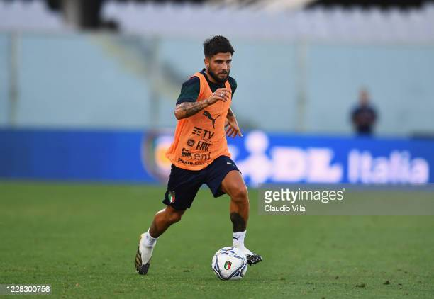 Lorenzo Insigne of Italy in action during a training session at Centro Tecnico Federale di Coverciano on September 1, 2020 in Florence, Italy.