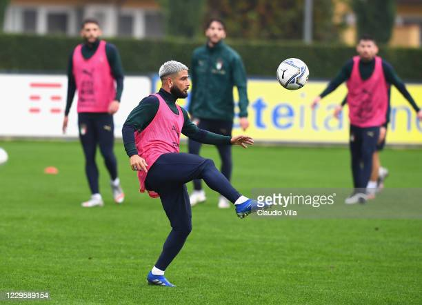 Lorenzo Insigne of Italy in action during a training session at Centro Tecnico Federale di Coverciano on November 12, 2020 in Florence, Italy.