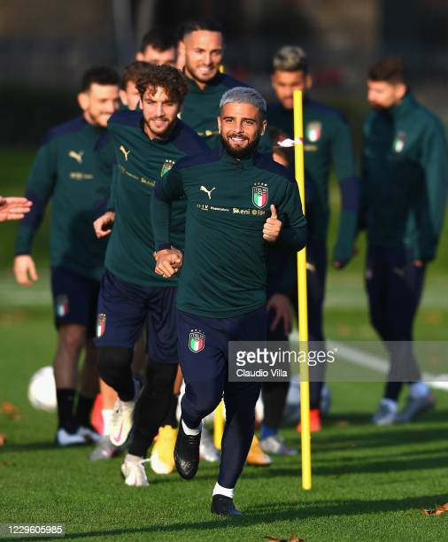 Lorenzo Insigne of Italy in action during a training session at Centro Tecnico Federale di Coverciano on November 13, 2020 in Florence, Italy.