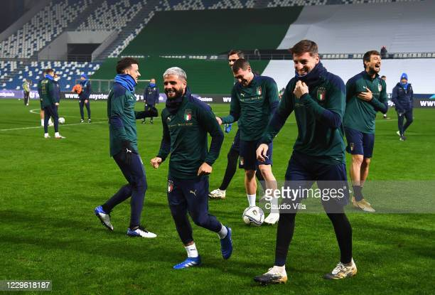 Lorenzo Insigne of Italy in action during a training session at Centro Tecnico Federale di Coverciano on November 14, 2020 in Florence, Italy.