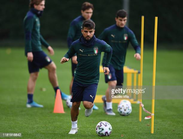 Lorenzo Insigne of Italy in action during Italy training session at Centro Tecnico Federale di Coverciano on November 12, 2019 in Florence, Italy.