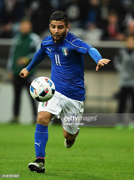 Lorenzo Insigne of Italy in action during the International Friendly match between Germany and Italy at Allianz Arena on March 29 2016 in Munich...