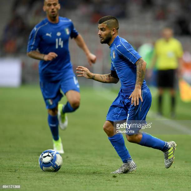 Lorenzo Insigne of Italy in action during the International Friendly match between Italy and Uruguay at Allianz Riviera Stadium on June 7 2017 in...