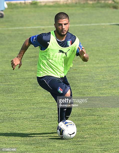 Lorenzo Insigne of Italy in action during the Italian training session at Coverciano on June 4 2015 in Florence Italy