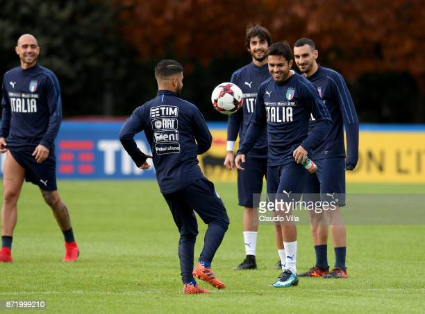 Lorenzo Insigne of Italy in action during the training session at Italy club's training ground at Coverciano on November 9 2017 in Florence Italy