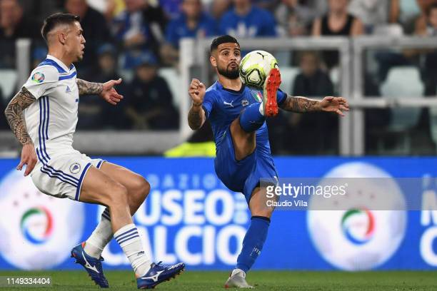 Lorenzo Insigne of Italy in action during the UEFA Euro 2020 Qualifier between Italy and Bosnia and Herzegovina at Juventus Stadium on June 11 2019...