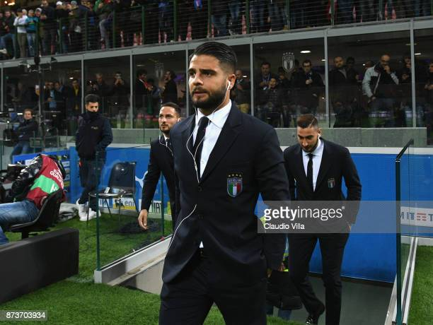 Lorenzo Insigne of Italy inspect the pitch prior to the FIFA 2018 World Cup Qualifier PlayOff Second Leg between Italy and Sweden at San Siro Stadium...