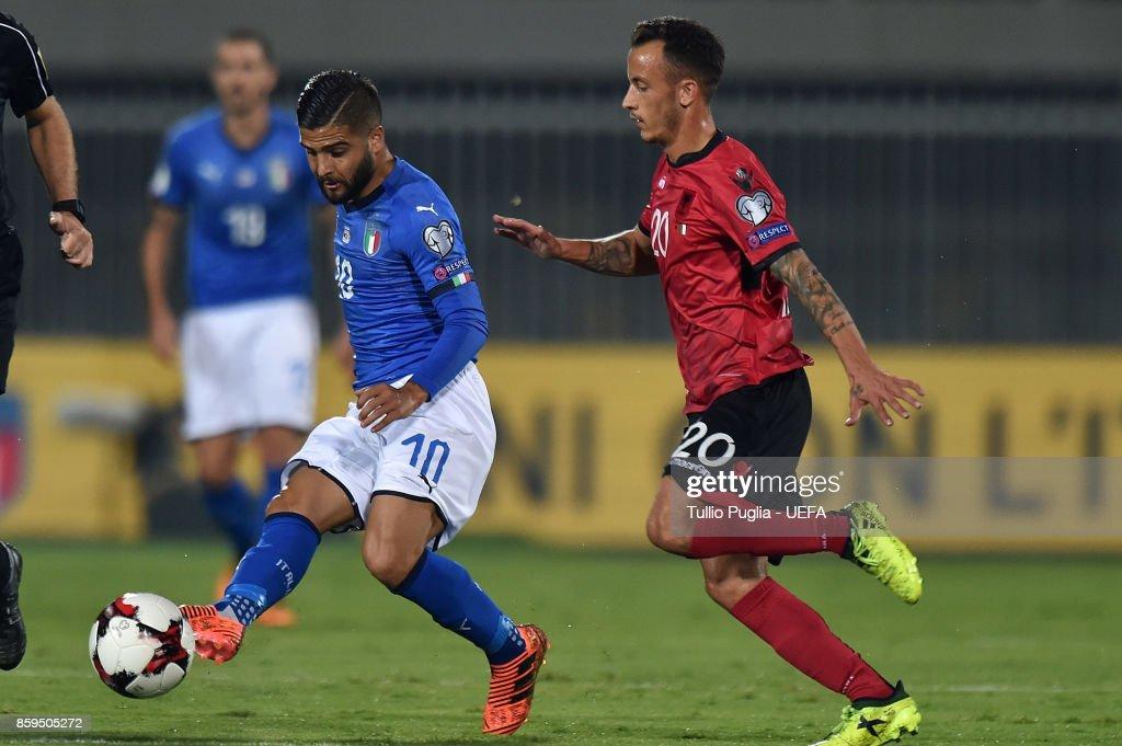 Ergys Kace of Albania and Ricardo Rodriguez of Switzerland compete ...
