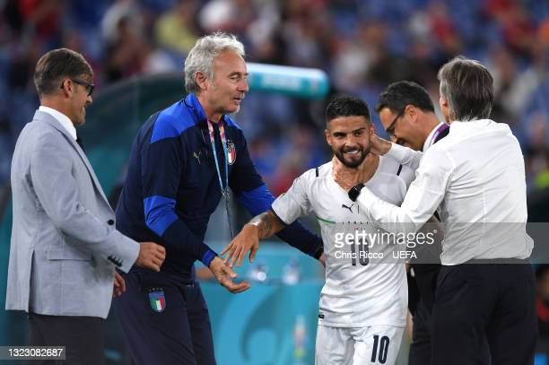 Lorenzo Insigne of Italy is congratulated by Roberto Mancini, Head Coach of Italy after being subsituted during the UEFA Euro 2020 Championship Group...