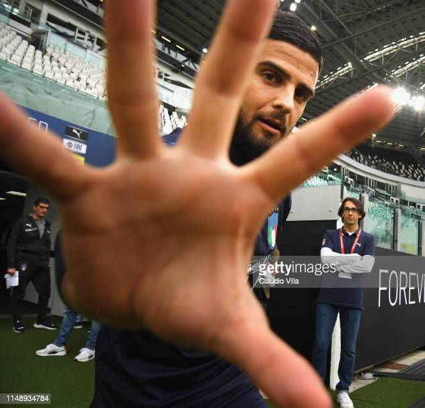 Lorenzo Insigne of Italy looks on during a Italy training session at Allianz Stadium on June 10, 2019 in Turin, Italy.