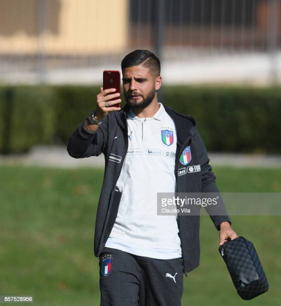 Lorenzo Insigne of Italy looks on prior to the training session at Italy club's training ground at Coverciano on October 4 2017 in Florence Italy