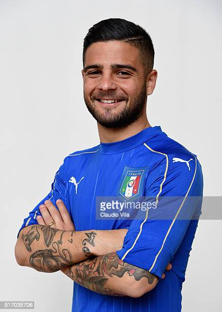 Lorenzo Insigne of Italy poses during the official portrait session at Coverciano on March 23 2016 in Florence Italy