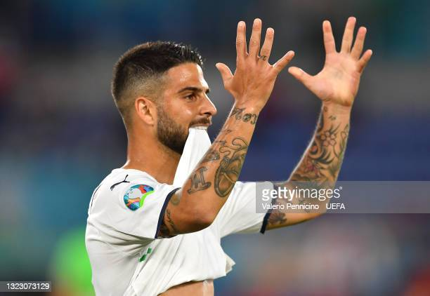 Lorenzo Insigne of Italy reacts during the UEFA Euro 2020 Championship Group A match between Turkey and Italy at the Stadio Olimpico on June 11, 2021...