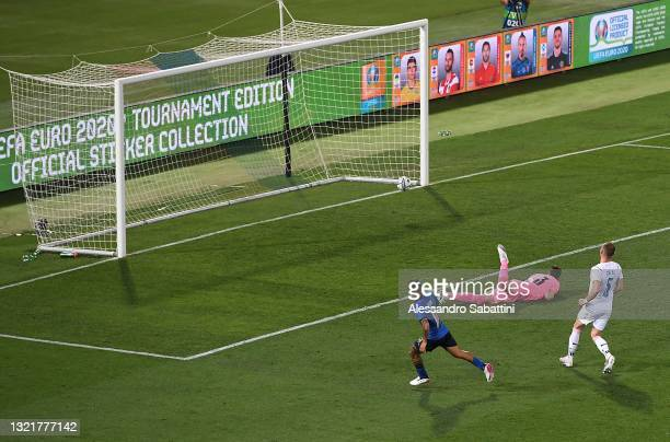 Lorenzo Insigne of Italy scores his team third goal during the international friendly match between Italy and Czech Republic at on June 04, 2021 in...