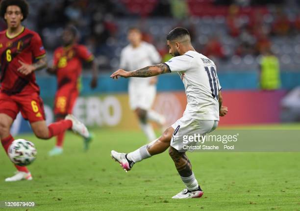Lorenzo Insigne of Italy scores their side's second goal during the UEFA Euro 2020 Championship Quarter-final match between Belgium and Italy at...