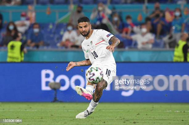 Lorenzo Insigne of Italy scores their side's third goal during the UEFA Euro 2020 Championship Group A match between Turkey and Italy at the Stadio...