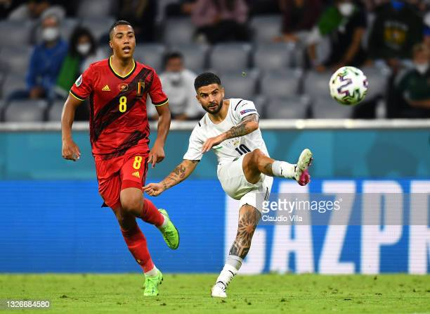 Lorenzo Insigne of Italy shoots whilst under pressure from Youri Tielemans of Belgium during the UEFA Euro 2020 Championship Quarter-final match...