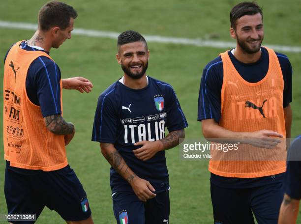 Lorenzo Insigne of Italy smiles during a Italy training session at Centro Tecnico Federale di Coverciano on September 4 2018 in Florence Italy