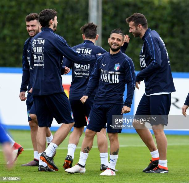 Lorenzo Insigne of Italy smiles during a training session at Centro Tecnico Federale di Coverciano on March 20 2018 in Florence Italy