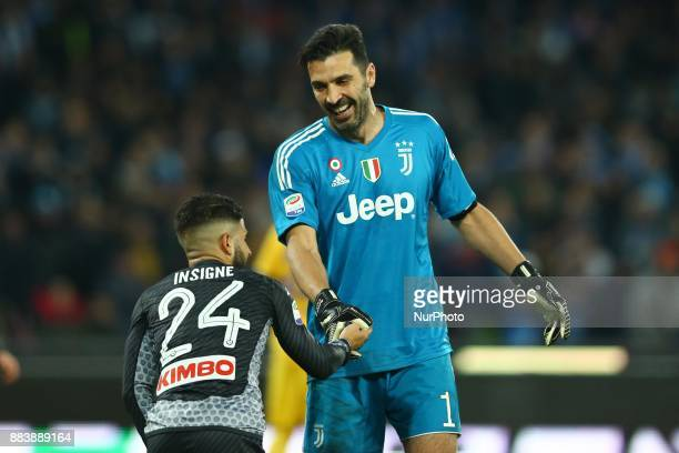 Lorenzo Insigne of Napoli and Gianluigi Buffon of Juventus during the Serie A match between SSC Napoli and Juventus at Stadio San Paolo on December 1...