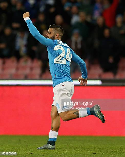 Lorenzo Insigne of Napoli celebrates after scoring his team's opening goal during the Serie A match between SSC Napoli and Torino FC at Stadio San...