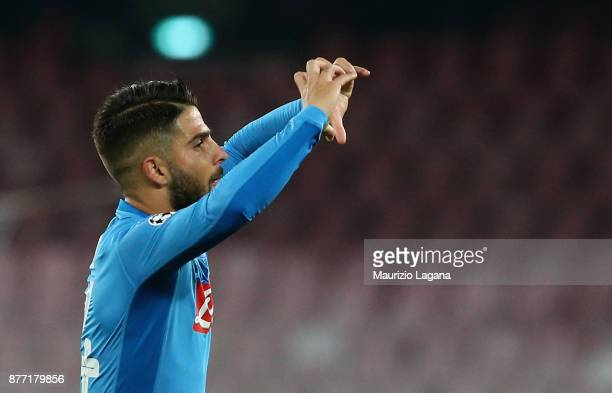 Lorenzo Insigne of Napoli celebrates after scoring his team's opening goal during the UEFA Champions League group F match between SSC Napoli and...