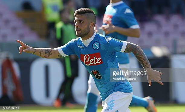 Lorenzo Insigne of Napoli celebrates after scoring his team's second goal during the Serie A match between SSC Napoli and Hellas Verona FC at Stadio...