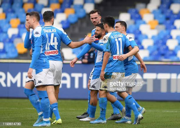 Lorenzo Insigne of Napoli celebrates after scoring the first goal of his team via penalty during the Coppa Italia match between SSC Napoli and...
