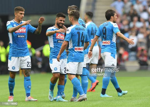 Lorenzo Insigne of Napoli celebrates after scoring the first goal during the PreSeason Friendly match between Liverpool FC and SSC Napoli at...