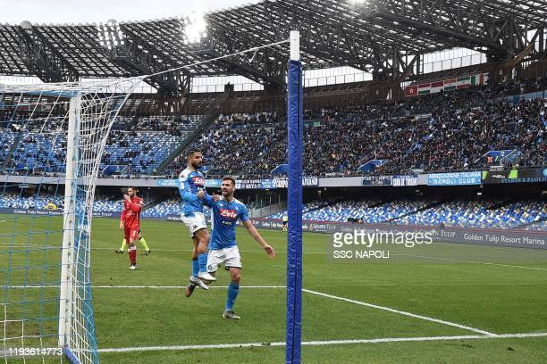 Lorenzo Insigne of Napoli celebrates after scoring the first goal during the Coppa Italia match between SSC Napoli and Perugia on January 14 2020 in...
