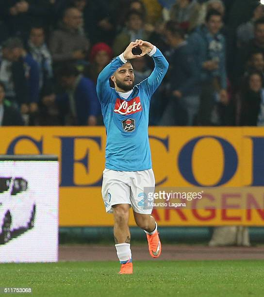 Lorenzo Insigne of Napoli celebrates after scoring the opening goal during the Serie A between SSC Napoli and AC Milan at Stadio San Paolo on...
