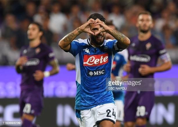 Lorenzo Insigne of Napoli celebrates after scoring the second goal of his team via penalty during the Serie A match between ACF Fiorentina and SSC...