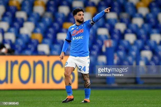 Lorenzo Insigne of Napoli celebrates after scoring their side's first goal from the penalty spot during the Serie A match between SSC Napoli and...