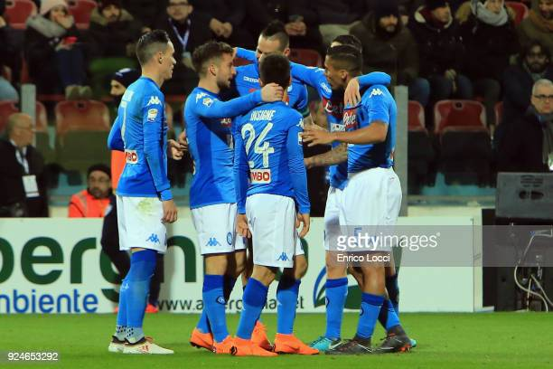 Lorenzo Insigne of Napoli celebrates his goal 04 during the Serie A match between Cagliari Calcio and SSC Napoli at Stadio Sant'Elia on February 26...